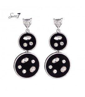 zilverkleurige oorbellen met twee hangende platte zwarte cirkels
