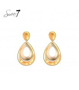 gele oorbellen met druppelvormige hanger met goudkleurig detail