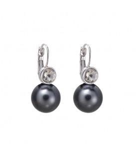 mooie grijze oorhangers met een parel en een heldere steen