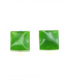 vierkante groene oorclips van culture mix