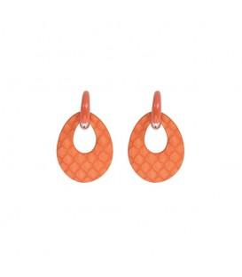mooie trendy oranje oorhangers met een oranje oorstukje