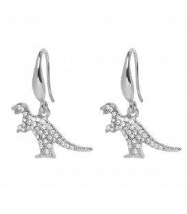 zilverkleurige oorbellen met als een hanger dinosaurus en strasssteentjes