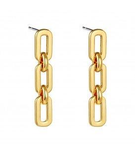 goudkleurige oorhangers met een hangende ketting