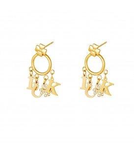 goudkleurige coole oorbellen met de letters luck
