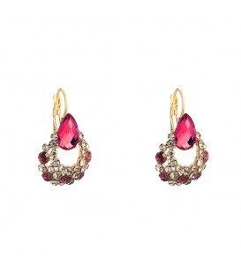 prachtige goudkleurige oorhangers met heldere en roze strass steentjes