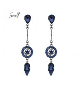prachtige blauwe lange oorhangers met strass steentjes