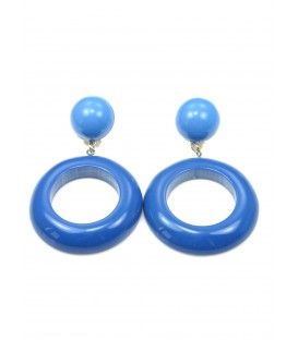 blauwe oorclips met ronde hanger