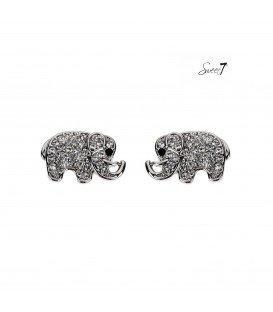 zilverkleurige olifanten met strass teentjes en een zwart oogje