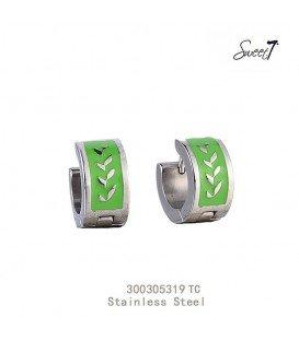 zilverkleurige oorbellen met gegraveerde lauwerkrans groen