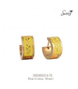goudkleurige oorbellen met gegraveerde lauwerkrans geel