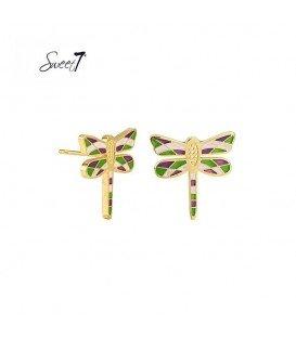gekleurde libelle oorbellen