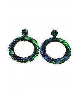 groene ronde oorhanger gemaakt van groengekleurde pailletjes